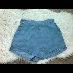 F21 Denim Stretch Waistband Shorts